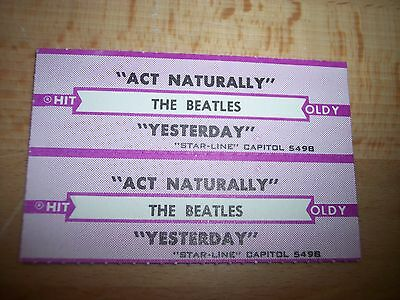 "2 Beatles Act Naturally / Yesterday (p) Jukebox Title Strip CD 7"" 45RPM Records"