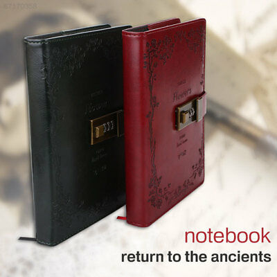 2A4C Lock Gifts Office Diarybook Exquisite PU Retro Password Book Diary Journal
