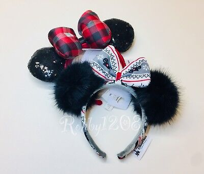 Disney Parks 2018 Christmas Sweater Pom Pom & Red Plaid Minnie Ears Headband NWT