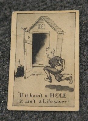 Vintage Advertising Card Boy Running to Outhouse Hasn't a Hole Isn't a Lifesaver