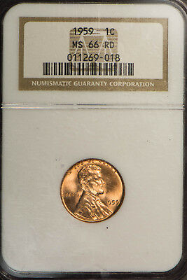 1959 LINCOLN MEMORIAL 1C SMALL CENT ** NGC MS 66 RD ** RED, NICE COIN Lot#B914