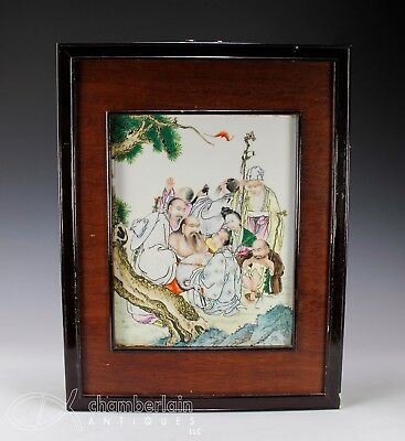 Hand Painted Chinese Porcelain Tile Plaque With Figures - 20C