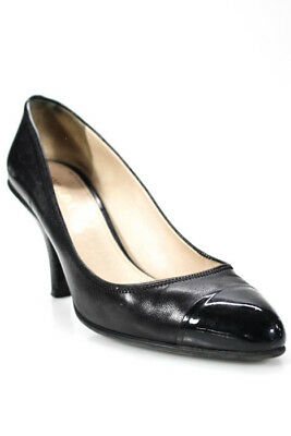 Prada Black Leather Pointed Toe Classic Pumps Heels Size Estimated 7