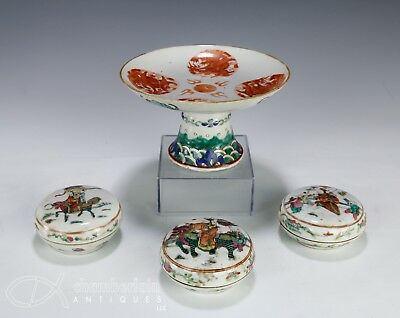 Nice Lot Of Old Antique Chinese Porcelain Boxes And Pedestal Dish