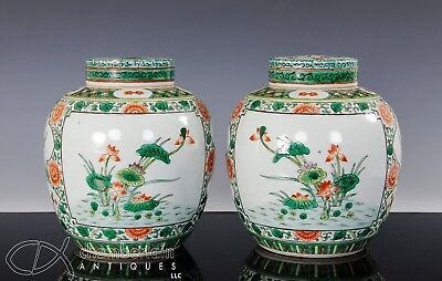 Mirror Pair Antique Chinese Famille Verte Porcelain Round Jars With Covers