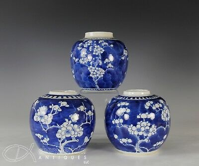 Lot Of Three Antique Chinese Blue And White Porcelain Jars