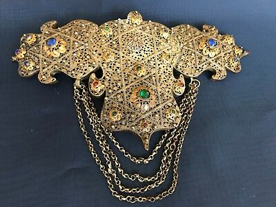 Antique Ethnic Silver Alloy Filigree Women Belt Buckle jewelry