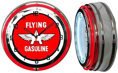 """Flying A Gasoline Gas Oil 19"""" Double Neon Clock Red Neon Chrome Finish"""