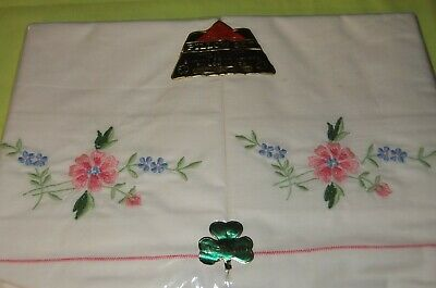 Two Vintage Irish Embroidered Pillow Set Cases Fine Quality Pink Made In Ireland