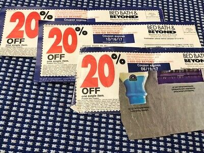 Lot of 3 Bed Bath & Beyond 20% off single item coupons save money fast shipping
