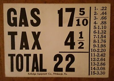 Gas Pump Price Card (17 5/10 Cents), Rutledge Equipment Co., Pittsburgh, 1940s