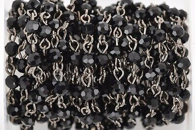 1 yd Black Crystal Rosary Bead Chain gunmetal 4mm round faceted crystal FCH0636a