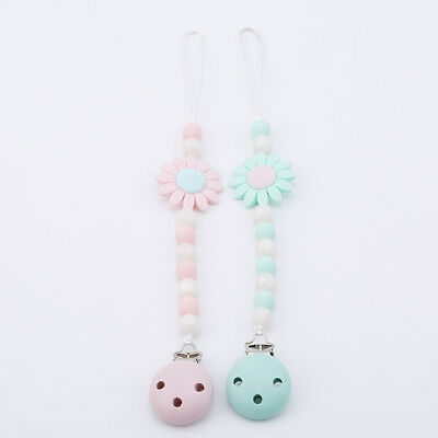 Baby Infant Wooden Beaded Pacifier Holder Clip Nipple Teether Dummy Strap D