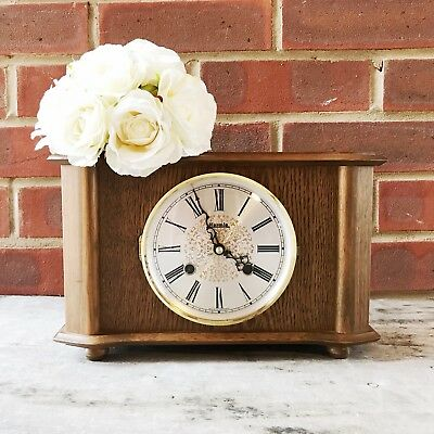 Vintage brown wooden shelf quartz clock mid-century Hermle Germany Roman Numeral