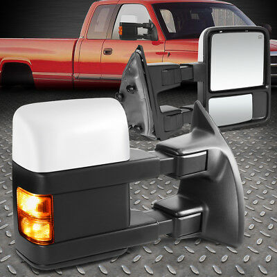 For 1999-2007 Ford Super Duty Chrome Powered+Heat+Amber Led Side Towing Mirror