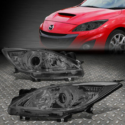 For 2010-2013 Mazda 3 Pair Smoked Housing Clear Corner Projector Headlight/lamp