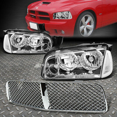Chrome Housing Headlight+Clear Corner Light+Grille Guard For 06-10 Dodge Charger