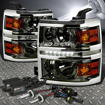 Smoked Projector+Led Drl Headlight+Amber Turn+6000K Slim Hid For Silverado K2Xx