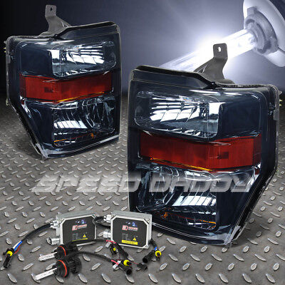 For 08-10 Super Duty F-250/350/450 Smoked Headlight+H13 Bulbs 8000K Hid+Ballast