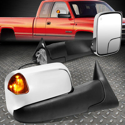 For 94-02 Dodge Ram Pair Powered+Heat+Amber Led Turn Signal Towing Mirror Chrome