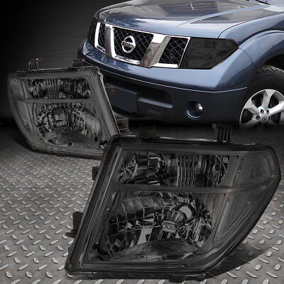 For 2005-2008 Nissan Frontier Pair Smoked Housing Clear Side Headlight/lamp Set