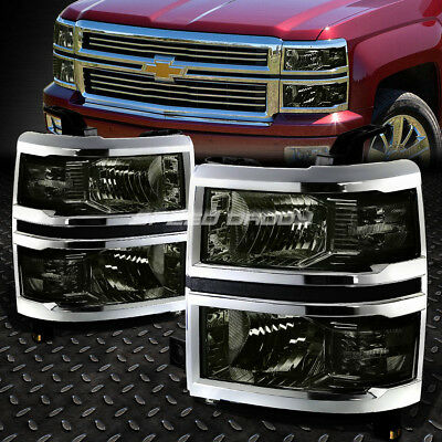 For 2014-2015 Chevy Silverado Pair Smoked Housing Clear Side Headlight/lamp Set