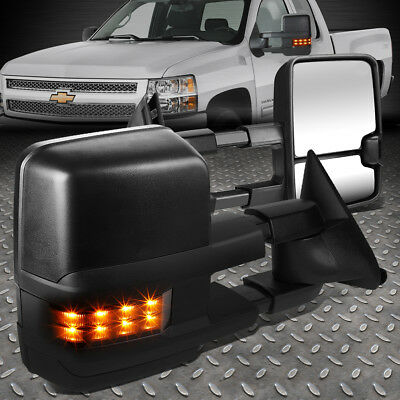 For 88-02 Chevy/gmc C/k Pair Powered Smoked Led Turn Signal Side Towing Mirror