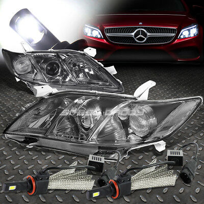 Smoked Housing Clear Side Headlight+6000K Hid Led Pair For 07-09 Camry Xv40