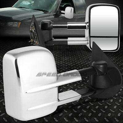 For 97-04 F150/-99 F250 Light-Duty Chrome Extendable Arm Towing Side Mirror Pair