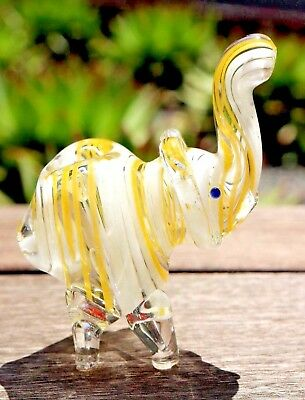 "3"" Yellow Elephant Collectible Tobacco Glass Pipe Smoking Herb Bowl Hand Pipes"