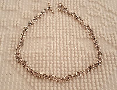 """NEW 925 Sterling Silver Heavy Circle Link Necklace With Toggle Clasp 17"""""""