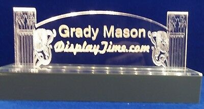 Personalized Acrylic Glass NAME PLATE BAR Desk with LED Lights FreeShip