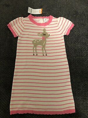 GYMBOREE FAIRY TALE FOREST PINK STRIPE N CUTE DEER SWEATER DRESS 18 24 4T NWT