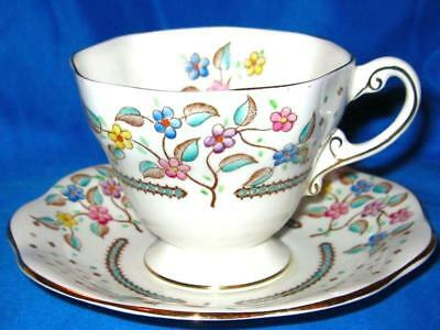Vintage EB Foley Bone China Coffee Tea Cup & Saucer Floral Pastel Hand Painted
