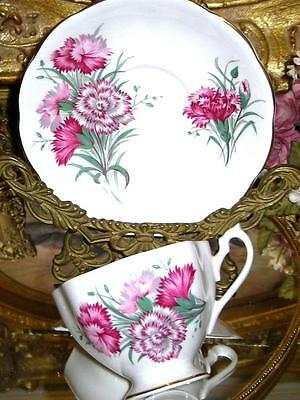 Beatuiful Vintage Queen Anne PINK CARNATION FLORAL Tea Cup and Saucer