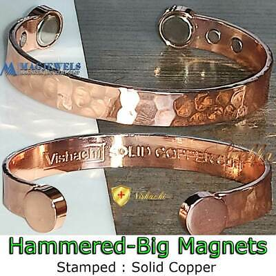 Pure Solid Copper Magnetic Hammered Men Women Bangle/bracelet Arthritis Cb22V