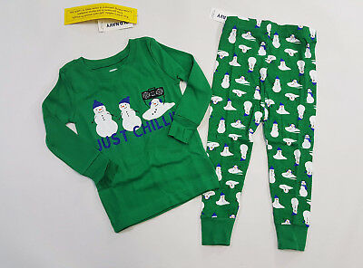 NWT Old Navy Toddler Boy Size 12 18 24 Months 2t 3t 4t Green Snowman Pajamas Pjs