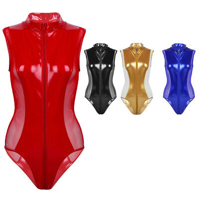 Women Leather Leotard Bodysuit WetLook Lace up Jumpsuit Catsuit Clubwear Rompers