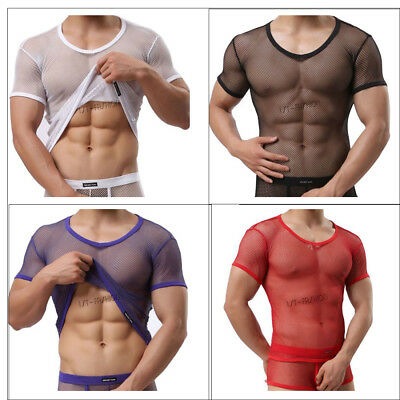 Men's Mesh T-shirt Gym Training Tank Tops Fish Net Tee Shirts Sporting Clothing
