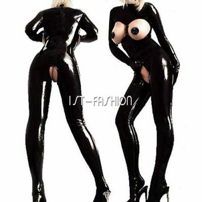 Latex Catsuit Open Bust Bodysuit Cat Women's Costume Lingerie Jumpsuit Clubwear