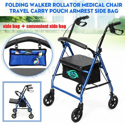 SIDE BAG gift+FOLDABLE ROLLATOR WALKING FRAME OUTDOOR INDOOR MOBILITY WALKER AID