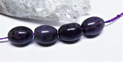 4 NATURAL UNTREATED AFRICAN PURPLE SUGILITE OVAL EGG BEADS 9mm AAA 18.5cts
