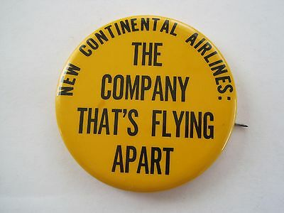 Continental Airlines Co Flying Apart Pinback Vintage