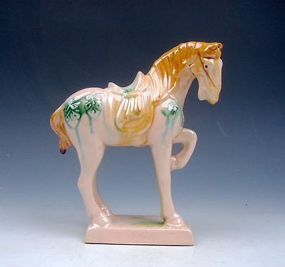 Chinese SanCai Painted Pottery Standing War Horse Sculpture w/ 1 Leg Up #122513