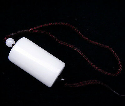 White Jade Crafted Unique Cylinder Shaped Pendant w/ Carrying Cord #03221601