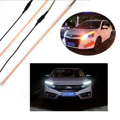 2 x 60cm White+Amber DRL LED Flowing Turn Signal Light Strip Side Marker Lamp