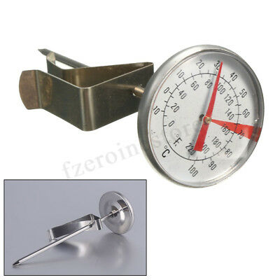 Clip On New Milk Dial Thermometer for Candle Soap Jam Coffee Making -Silver 63mm