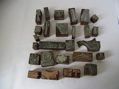 printing blocks vintage 26 copper metal wooden hardware store stock quality No 2