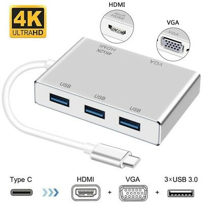 Type C to HDMI 4K 3x USB 3.0 HUB VGA Video Adapter 4Kx2K For Apple Macbook to TV