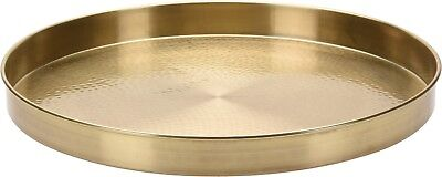 Large 36cm Round Gold Serving Tray Hammered finish Metal Tray